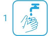 1. Schritt: Hände unter fließendem Wasser nass machen